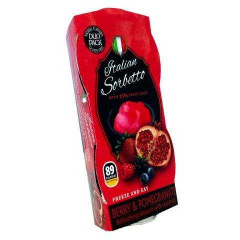 Berry & Pomegranate Real Fruit Juice Sorbet Italian Sorbetto Dessert (Pack of 2)
